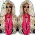 7A Высокое качество фронта светлые волосы парики человека виргинский бразильский блондинка полный человеческих волос парик # 613 с бесплатной / боковая часть