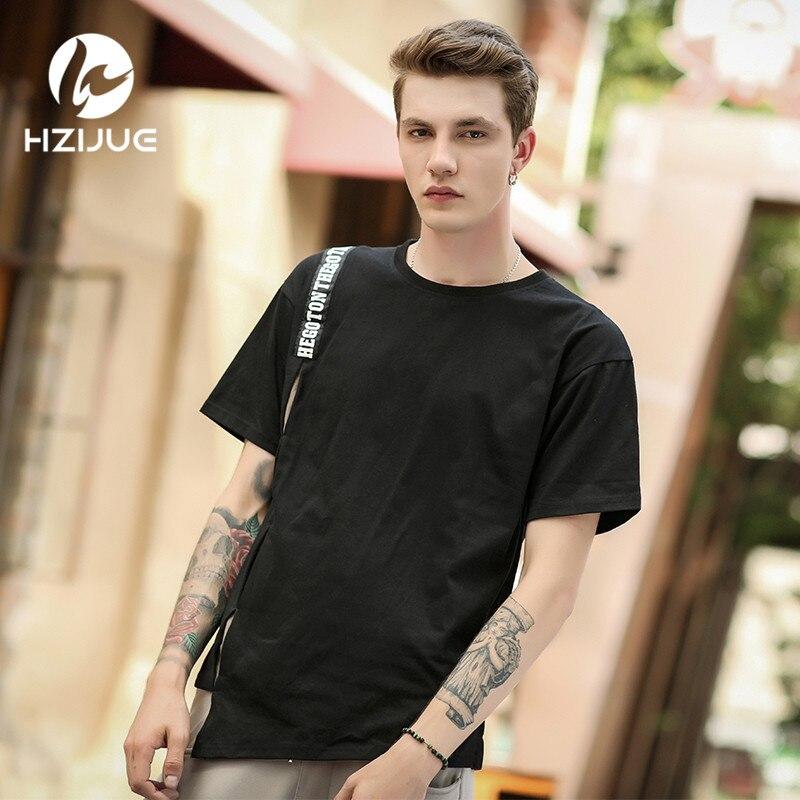 HZIJUE Hip-hop Men's T-shirt Asymmetrical Skirt Design Round Neck Long T shirt for Men