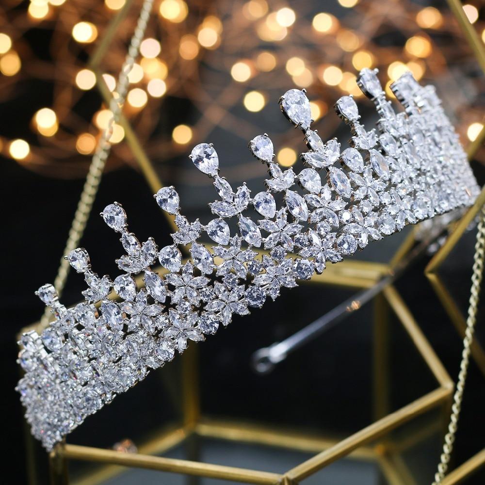 Calidad superior de la boda dama de honor nupcial hoja cubicos Zirconia ninas blanco plateado zircon