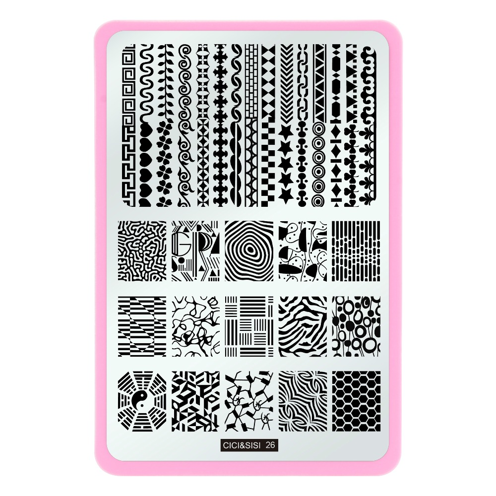 Reka bentuk Renda Baru Rectangle Nail Stamping Plate Stamp Image - Seni kuku