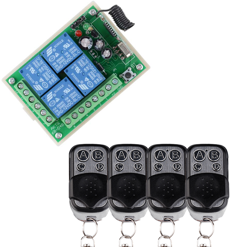 DC12V 4CH RF Wireless Remote Control System Smart Home Switch 4 Transmitter and 1 Receiver Universal Gate Controller
