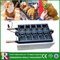Grande boca de peixe máquina de sorvete taiyaki  mini waffle maker  ice cream waffle cone maker