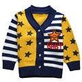 Alta Calidad Suéter Muchacho de Los Niños Estrellas y Tiras Impresas Suéter de Otoño y Primavera de Los Niños Ropa de 3 Colores