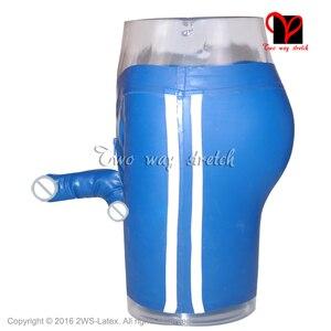Сексуальные латексные шорты-боксеры синего цвета с полосками, нижнее белье с резиновой застежкой-молнией спереди для пениса, нижнее белье для презерватива, шорты-бермуды, HotPants, KZ-128