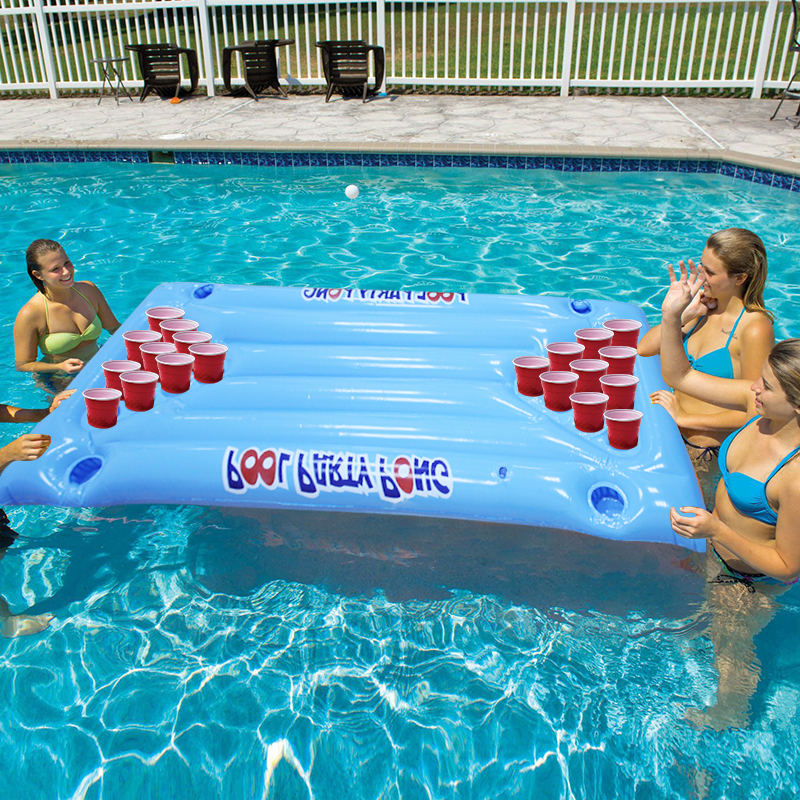 Hot Selling 24 Cup Holder PVC Inflatable Beer Pong Table Pool Float Summer Water Party Fun Air Mattress Lounge Ice Bucket Cooler vacation