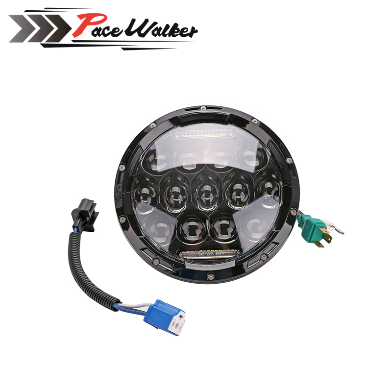 7 Projector FOR Daymaker Round 75W 7500LM Hi/Low Beam Motorcycle LED Headlight Bulb DRL partol 7 round led projector black headlight pc lens with drl for h d fld trike touring softail flhtcuse 7 sealed beam