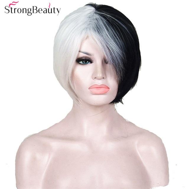 halloween cruella deville voluminous half white half black bob costume synthetic wig