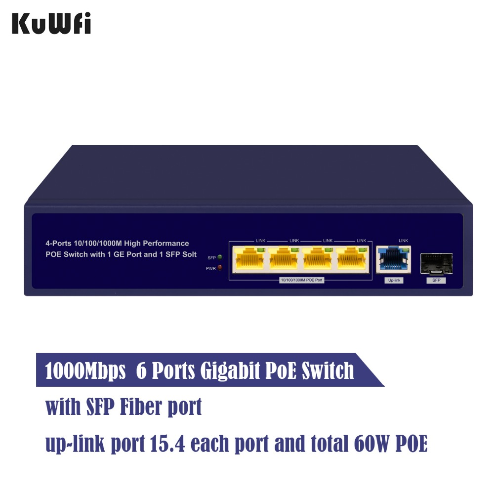 Image 5 - 6Ports Gigabit POE Switch 1000Mbps Ethernet Switchs for Network Cameras&Wireless AP 30W Switch With Gigabit SFP Fiber-in Network Switches from Computer & Office