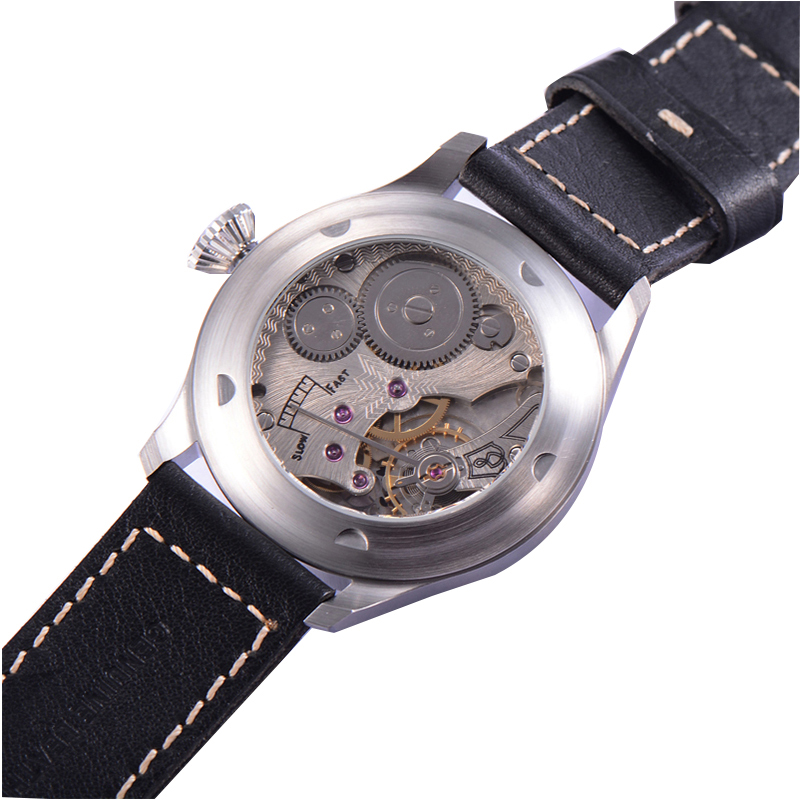 Parnis Mens Business Seperate Second Dial Classic Dress Mechanical Hand Wind Wrist Watches - 3