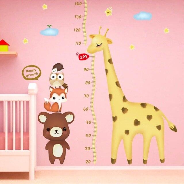 7 23 Diy Mignon Girafe Ours Mesure Croissance Tableau Citation Décor De Mur Hauteur Règle Pour Enfants Filles Chambre De Bébé Décoration Stickers