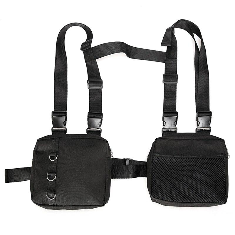 Fashion Hip Hop Streetwear Men Chest Rig Multi-Pockets Waistcoat Chest Bag Vest Functional Waist Packs Bag