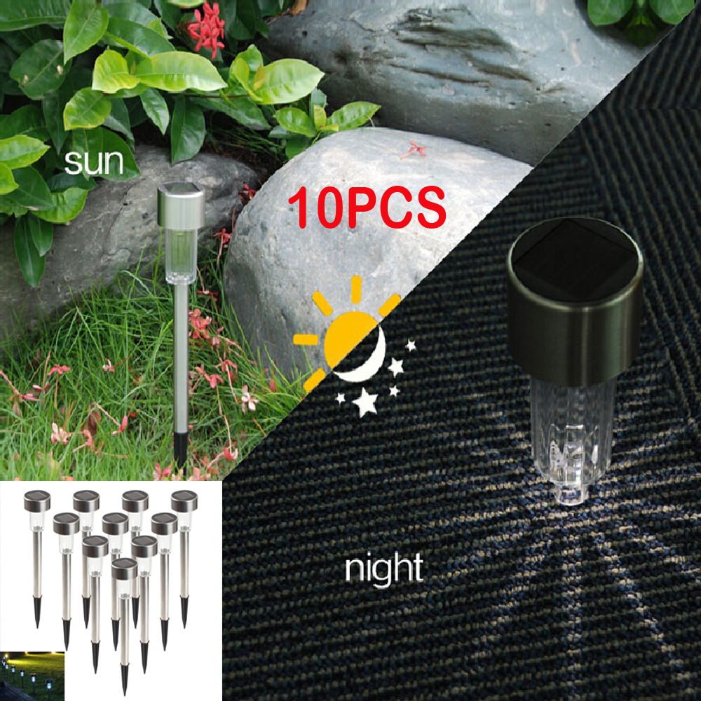 10 unids LED Luz Solar Decorativa Spot Spot Panel Solar Paisaje Camino Luces de Césped LED Spotlight Jardín Patio Lámpara Al Aire Libre