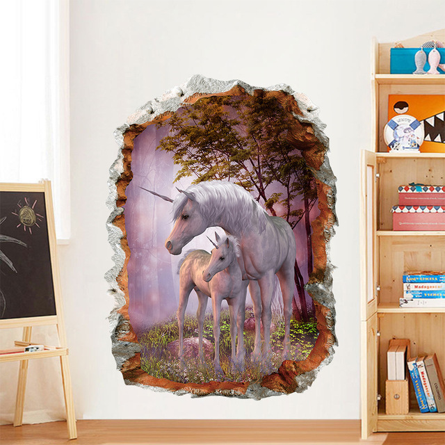 3D Unicorn Wall Stickers for Living Room Bedroom Kids Room