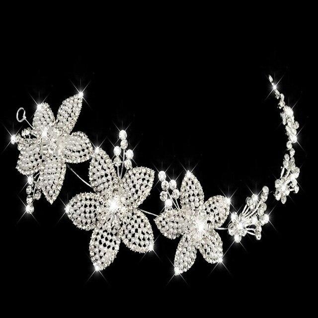 Precioso Sakura tiaras y coronas nupcial pelo Adornos para la boda  cristales perlas Accesorios de pelo bee1a3ad2c78