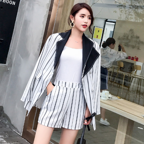 New Spring Striped Lace Wear Fashionable Slim Pants Two Sets Women Patchwork Collar Elegant Female Suit