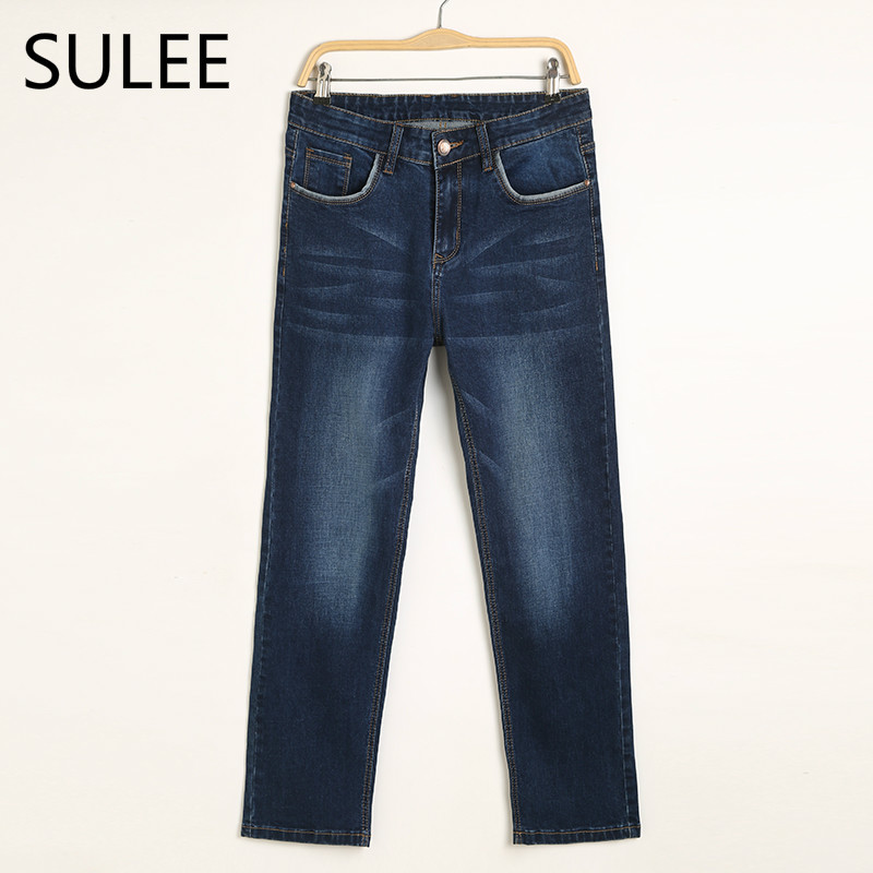 SULEE Brand Autumn Winter  Mens Heavyweight  Stretch Denim Jeans Casual Fit Loose Relax Trousers Pants Plus Size 42 44