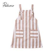 Г. Летняя одежда для малышей От 1 до 6 лет платье в полоску для маленьких девочек без рукавов трапециевидный плиссированный Повседневный Сарафан с карманом