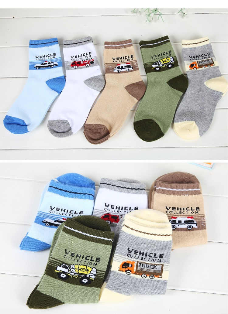 Children socks spring & autumn new Cotton cartoon car socks for boys 1-12 year kids socks (5 pairs / pack) Children Wit 7