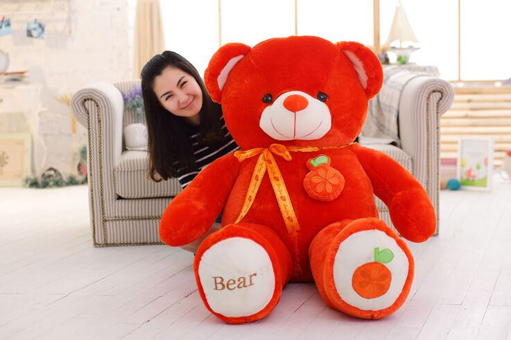 stuffed fillings toy huge 160cm orange fruit teddy Bear plush toy bear doll soft throw pillow Christmas gift,b0799 stuffed animal largest 200cm light brown teddy bear plush toy soft doll throw pillow gift w1676