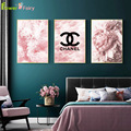 Abstract Pink Seawater Nordic Poster Modern Peony Flower Wall Art Canvas Painting Scenery Wall Pictures For Living Room Unframed