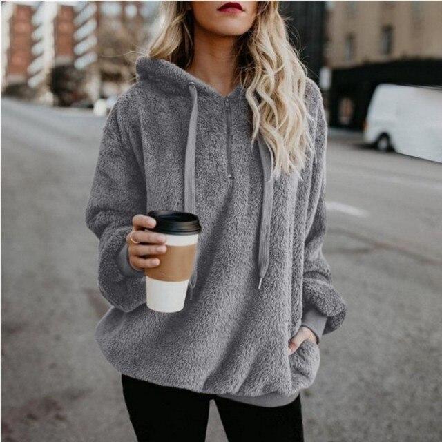 2019 Winter Women Sherpa Hoodies Oversized Fleece Hooded Pullover Loose Fluffy Coat Warm Streetwear Hoodies 1