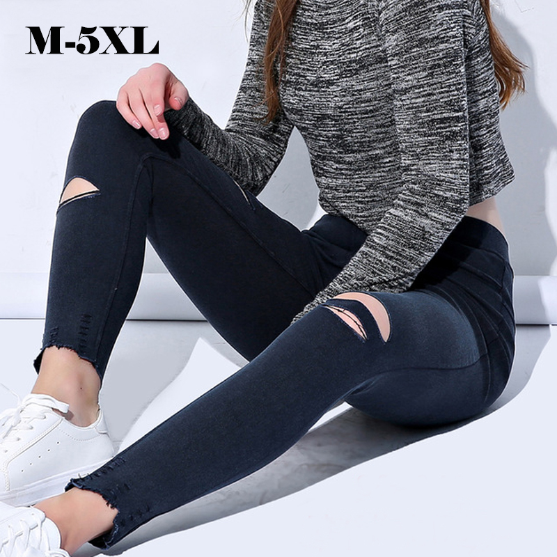 Plus size 5XL New Style Jeans legins Autumn Sexy   Leggings   Women Torn Ripped Hole Ninth Pants Punk Denim Leggins Women Clothing