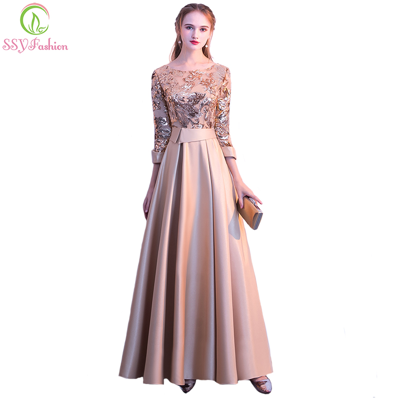 SSYFashion New Mother of The Bride Dress The Banquet Elegant Gold and Navy Blue 3 4