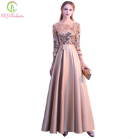 SSYFashion New Mother of The Bride Dress The Banquet Elegant Gold and Navy Blue 3/4 Sleeves Satin Sequins Long Party Formal Gown