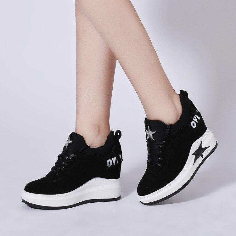 Mulheres Sneakers Moda Feminina Altura Crescente Respirável Lace-Up Cunhas Sapatilhas Sapatos de Plataforma Cow Camurça Mulher Sapatos Casuais tênis