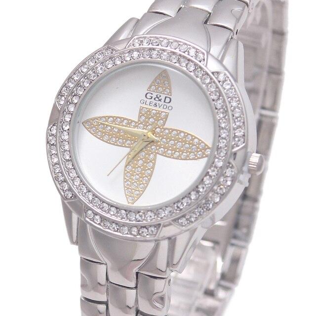 2017 Luxury G&D Women Quartz Wristwatches Silver Crystal Fashion Women Bracelet Watch Stainless Steel Relojes Mujer Clover Gifts