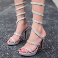 Saltos altos finos sapatos mulheres bombeia sandálias Elegantes mulheres Sexy Sandália de Casamento Festa De bombas moda Tornozelo-Wrap sapatos de Cristal mulher