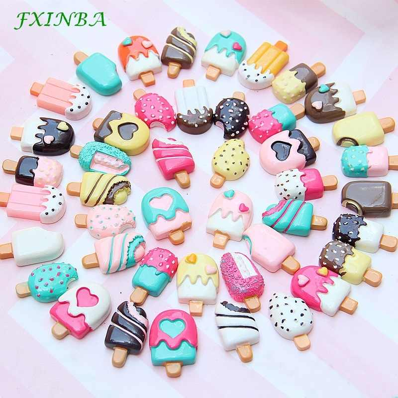 FXINBA 3Pcs/Lot Resin Ice Cream Charms For Slime Clay Candy DIY Flatback Charms Cake Phone Decoration Slime Supplies Kit Toys