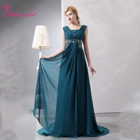 Alexzendra V Neck A Line Chiffon Mother of Bride Dress Pearls Dark Blue Elegant Long Evening Gowns Plus Size