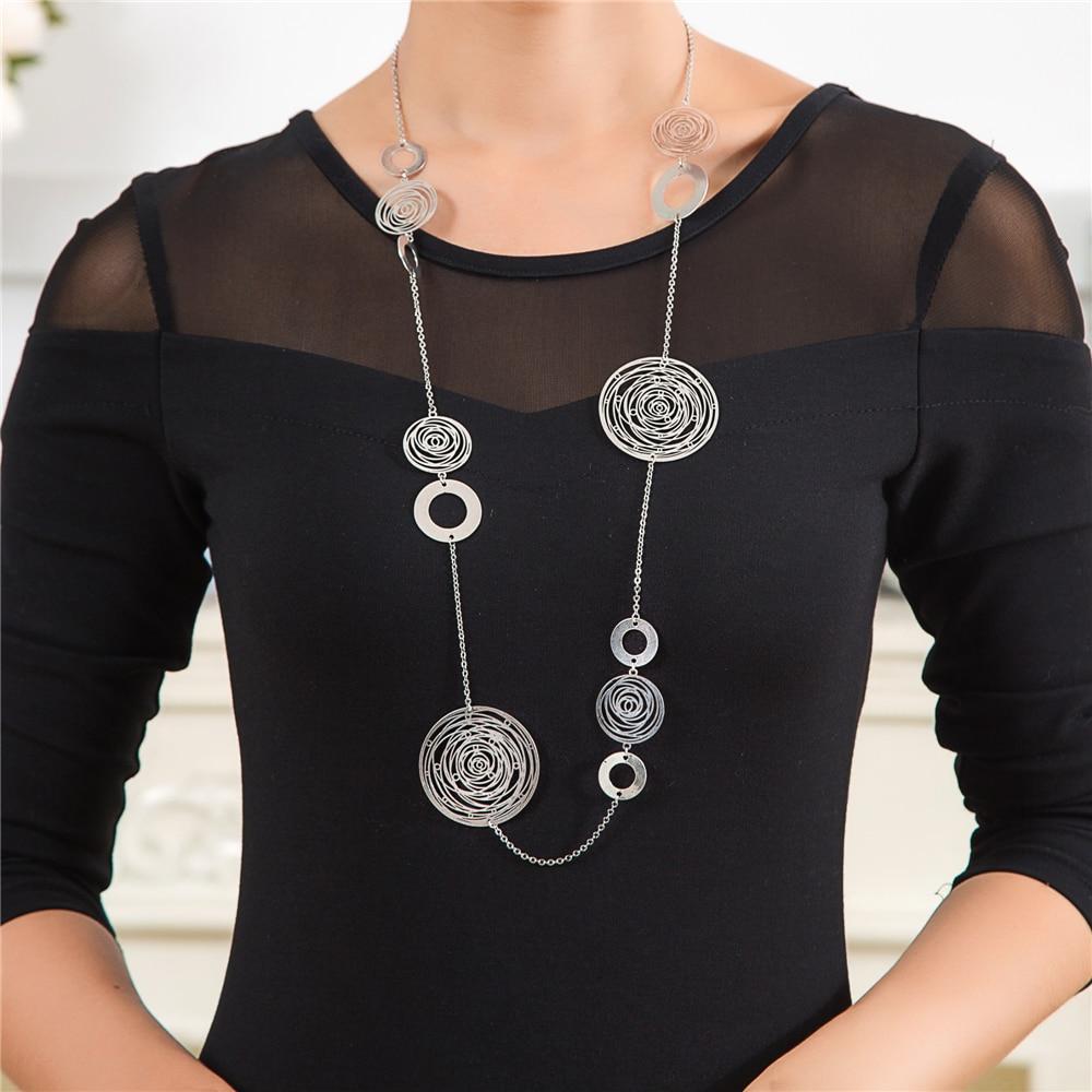 New Fashion Fine Jewelry 90 cm Vintage Necklace Long necklace Copper Silver Chain Boho Collares vintage Colar feminino Etnico