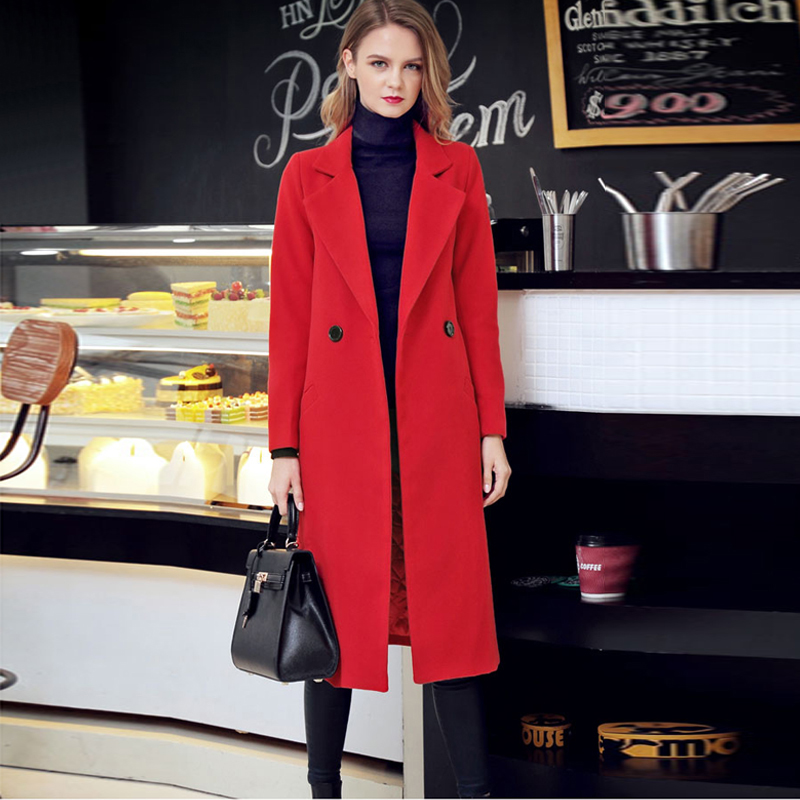 spring and winter thick wool coat women overcoat black red
