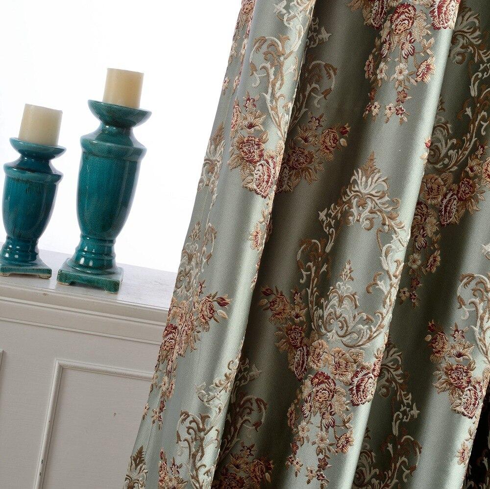 European Jacquard Curtains High Precision Floral Blackout