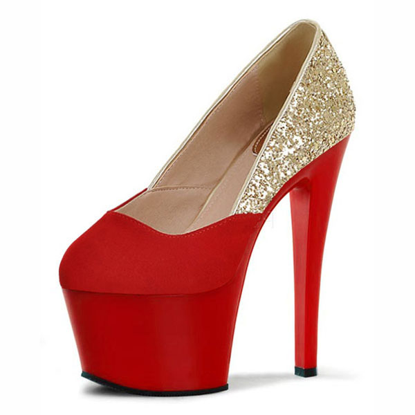 Fashion sexy high-heeled shoes high heels round head platform pump shoes women's wedding party 17 cm shoes size 17cm 2017 fashion brand high heels round head high heeled women s water wedding shoes