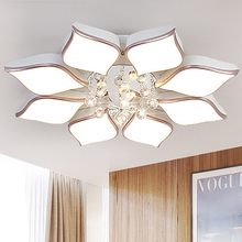 цены Living room lamp petal round crystal lamp simple modern bedroom lamp led ceiling warm hall lamp