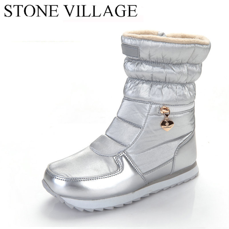 2018 New Style Women Boots Fashion Silver Winter Boots Warm Snow Boots Girl White Zip Shoes Female Hot Boots M025 2018 women snow white boots woman winter boots women platform snow boots women s shoes brand shoes jsh m025