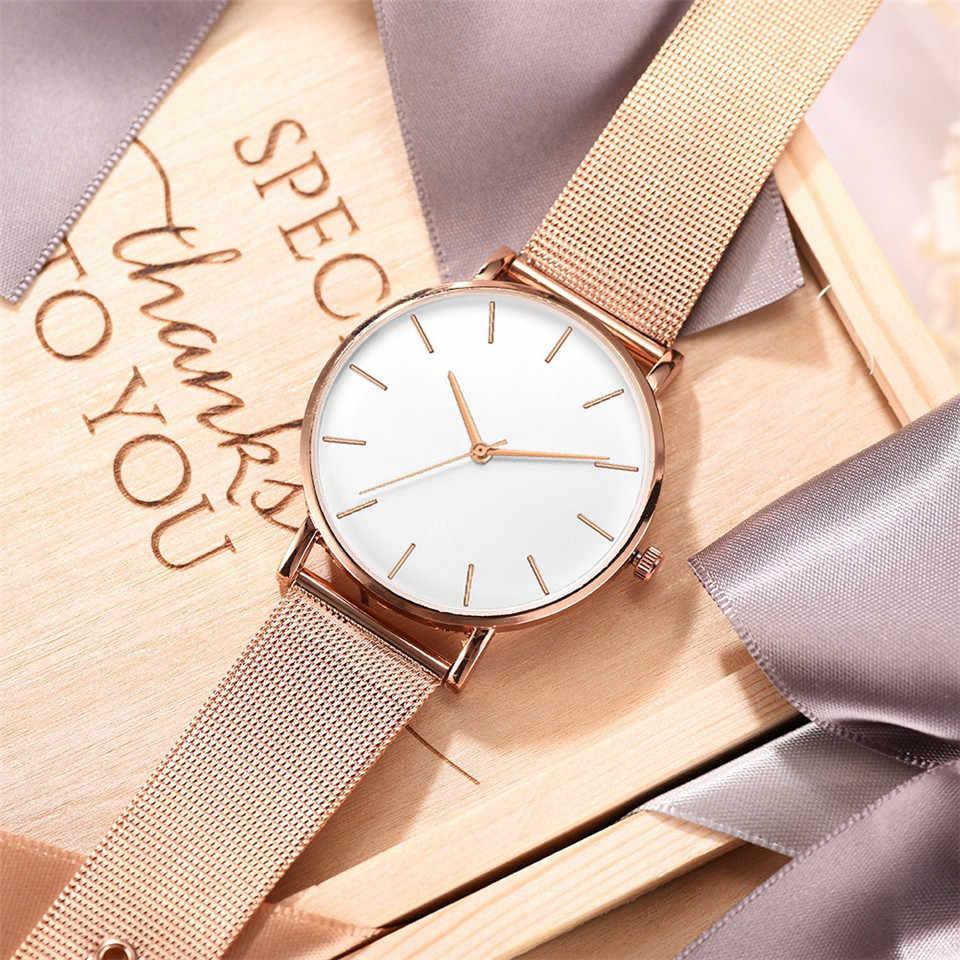Cinturón de malla ultrafino minimalista Deporte mujer relojes oro rosa reloj Montre mujer 2019 Regalos relojes para mujer Venta Directa