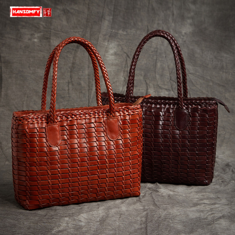 New art fresh leather hand woven Women handbags genuine leather female large capacity luxury fashion ladies