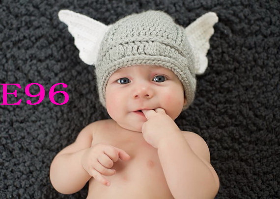 a7331b5721b56 Free shipping Handmade Crochet Baby hat Hand made Cute Baby Thor Viking  Helmet for cap Newborn Photo props-in Hats   Caps from Mother   Kids on ...