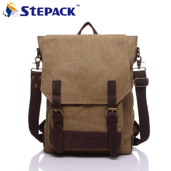 ФОТО High Quality Canvas Vintage Crazy Horse Leather Casual Men Backpack Unisex Shoulder Bags For Lady Rucksack WMB0181