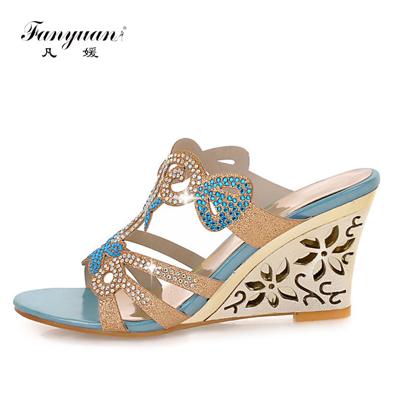Fanyuan 2018 Peep Toe High Heels Sandals With Crystal Elegant Fretwork High Heel Summer Slides Women Casual Wedges Slipper Shoes elegant slip on wedges shoes women casual chunky heel summer red blue peep toe suede 2018 high heels mules platform sandals