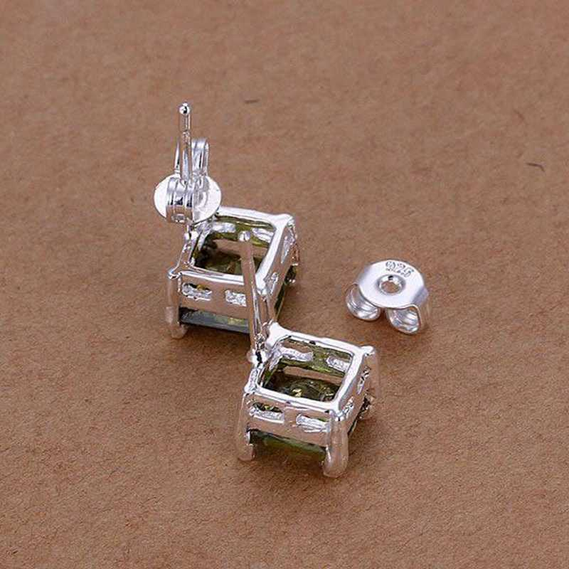 Perhiasan fashion untuk wanita, 925 perhiasan, Berlapis perak anting anting, Anting anting persegi, E234 / LNOXWOBP TIDSNUPG