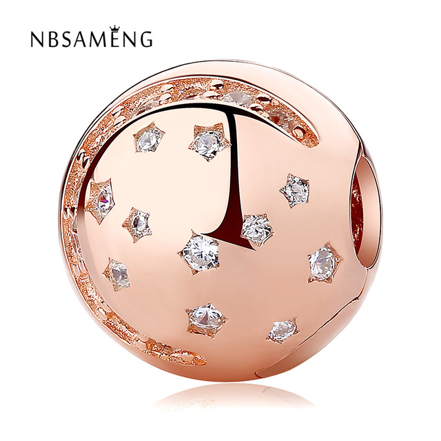Neue 925 Sterling Silber Rose Gold Farbe & Clear CZ Stern Runde Stopper Clip Fit Pandora Original Armbänder DIY Schmuck