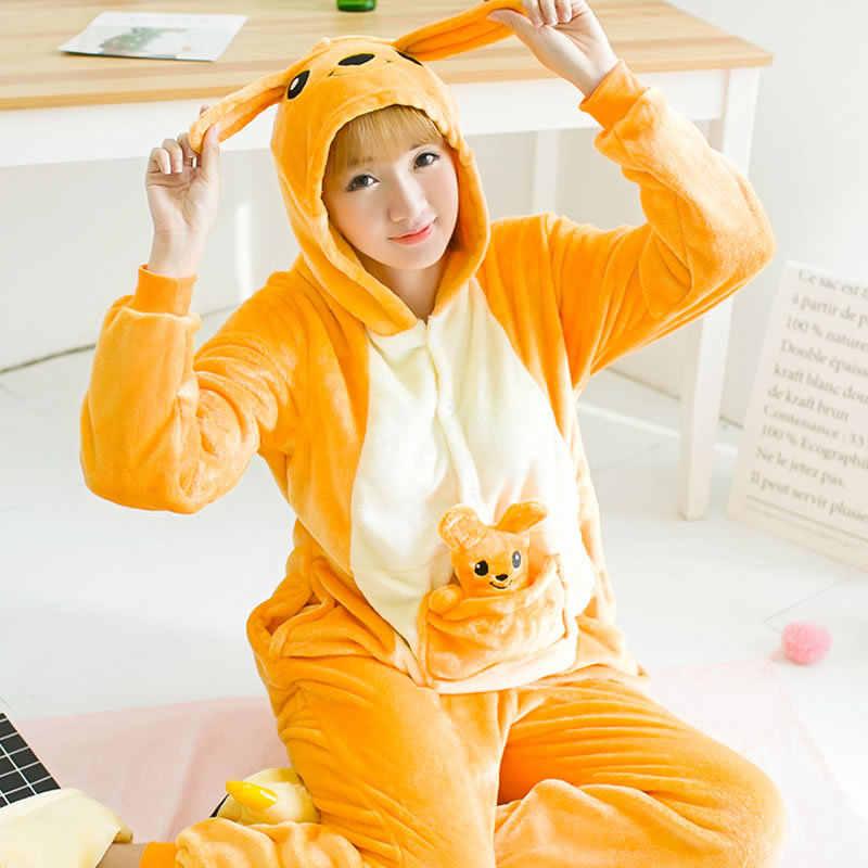 С капюшоном кенгуру с куклами животных зимние милые Аниме One-Piece  Kigurumi Для женщин пижамы dd4765200e308