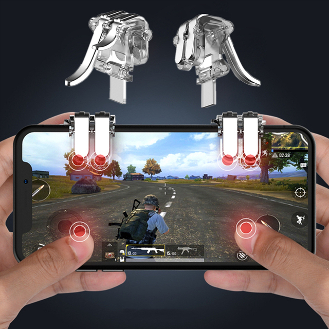 W6 New Concept Six-finger Linkage 1Pair PUBG Mobile Game Fire Button Aim Key Phone Gaming Trigger L1 R1 Shooter Controller