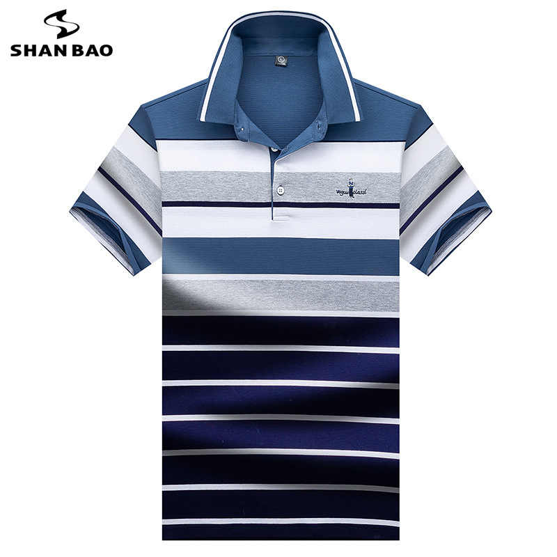 2019 summer new high quality comfortable cotton embroidery men's short sleeve Polo shirt business casual striped Polo shirt