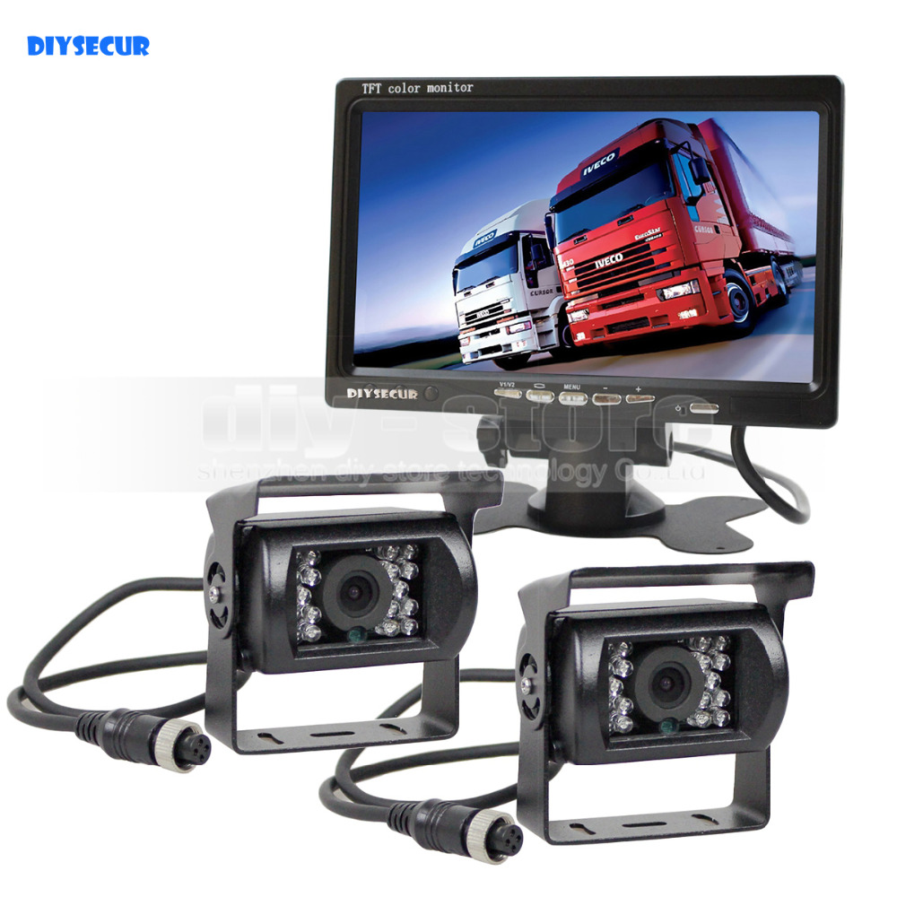 DIYSECUR 12V-24V 4pin IR Night Vision HD Rear View Camera Kit 7 inch TFT LCD Car Monitor System for Bus Houseboat Truck